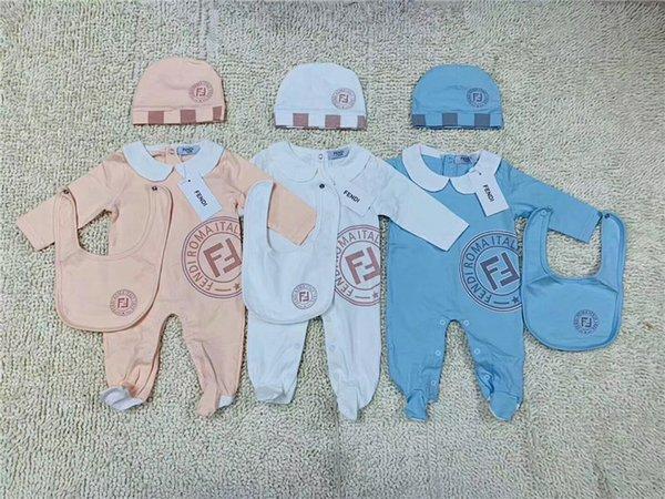 Tout-petit bébé Romper Vêtements de bébé Garçons Filles plein manches souples Hat + barboteuses Jumpsuits Bib 3pcs / set Suit
