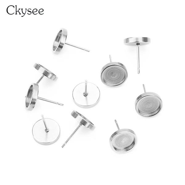 Ckysee 8/10/12 / 14mm en acier inoxydable Boucles d'oreilles dormeuses de base Base Fit 6/8/10 / 12mm Cabochon Paramètres de base de camée Cameo Diy conclusions