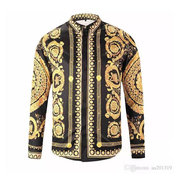 2019 novos homens camisas de vestido de moda harajuku camisa casual homens medusa ouro preto fantasia 3d impressão slim fit camisas
