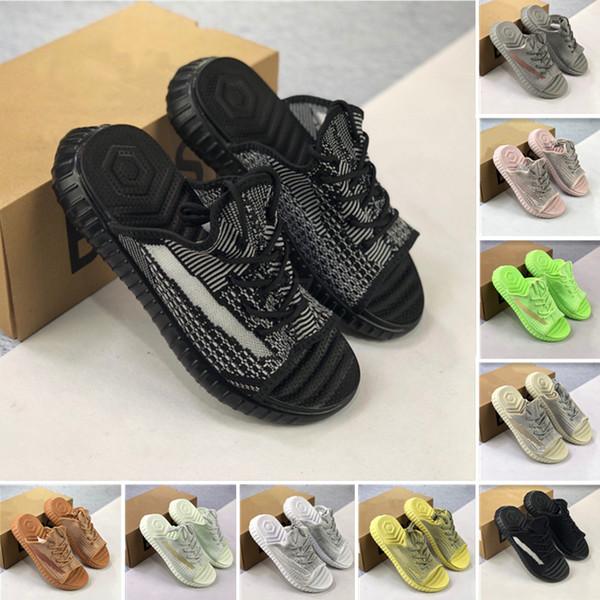 Slippers Sandálias Slides de Luxo Top Marca Homens e Mulheres 3 M Zebra Estática Creme Amarelo Sésamo Designer de Sapatos de Praia Com caixa 89797