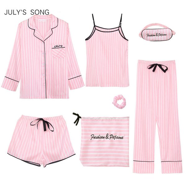 July's Song Pink Damen 7-teilig Pyjamas Sets Emulation Silk Striped Pyjamas Damen Nachtwäsche Sets Frühling Sommer Herbst Homewear Y19072001