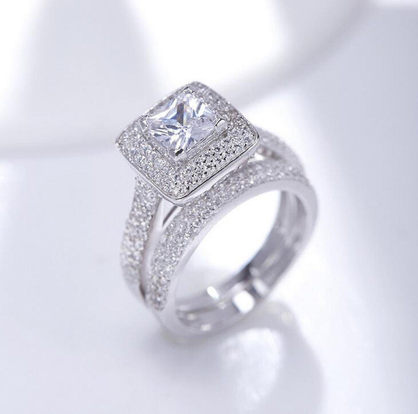 Toptan Takı Saf% 100 925 Gümüş Prenses kesim Beyaz Safir Taş CZ Diamond Kadınlar Düğün Çift Yüzük Seti Hediye