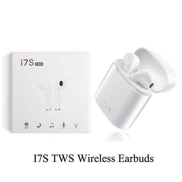 I7S TWS Wireless Headphones Earbuds Earphones With Charger Box Dock V4.2 Stereo Wireless Bluetooth Earbuds For IPhone Android