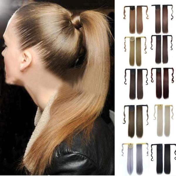Real New agrafe dans la prolongation Cheveux raides poney queue Enroulable Ponytail Drop shipping OC17