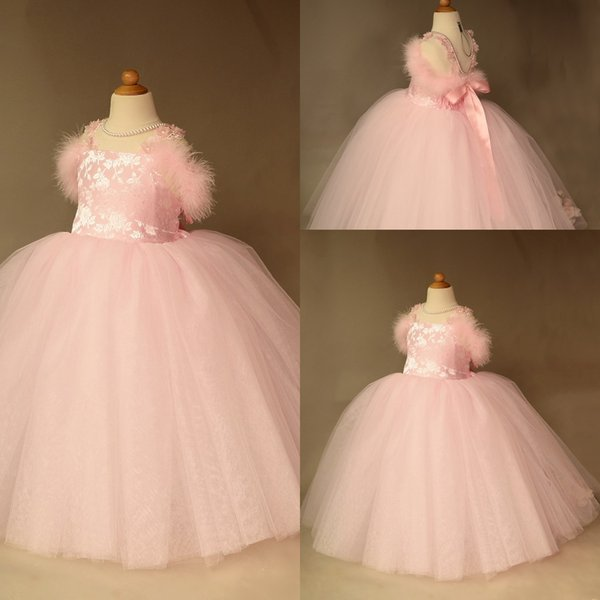 Newest Ball Gown Flower Girl Dress Square Sleeveless Tulle Lace