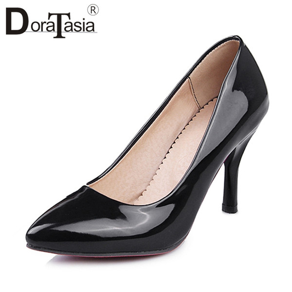 DORATASIA 2019 Big Size 33-42 New Whosale Office Lady Tacchi alti Pompe Dropship Donne Vernice Pu Scarpe da lavoro
