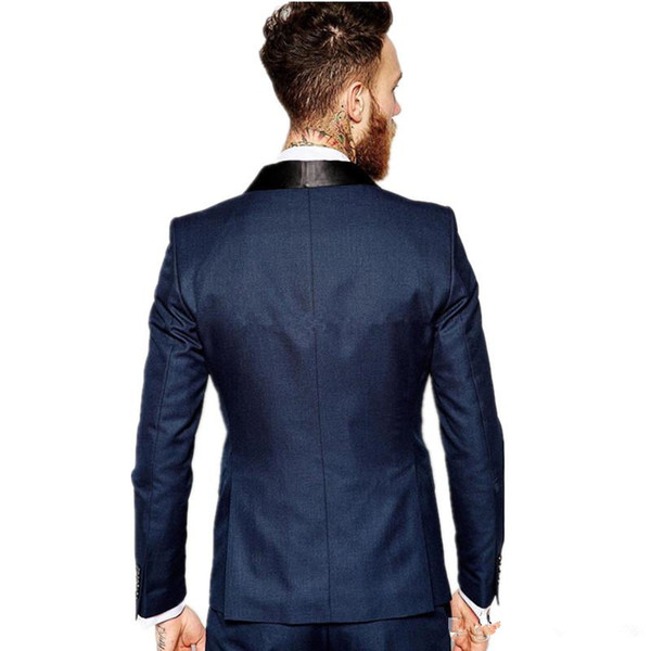 El último diseño, un botón, azul marino, esmoquin, novios, padrinos de boda, el mejor hombre se adapta a los trajes de chaqueta para hombre (chaqueta + pantalón + chaleco + corbata)