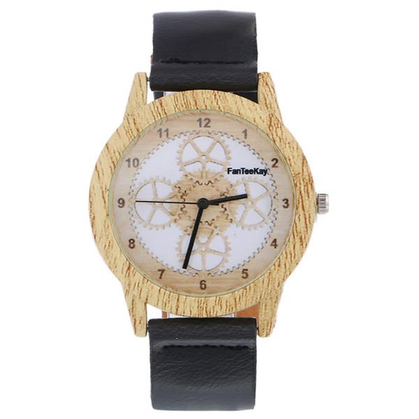Legno retrò uomo donna casual orologi di marca vintage legno orologi da polso con cinturino in pelle orologio al quarzo ore di moda faccia orologio vestito di legno