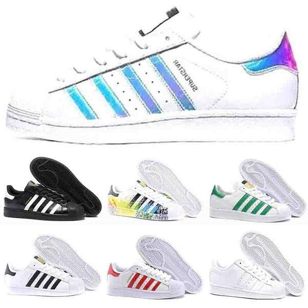 adidas superstar yeezy 80s Casual Tennis Chaussures Femmes Meilleur Talon Blanc Hommes Appartements En Cuir Super Star Casual chaussures 36-45
