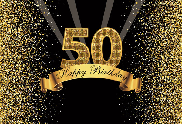 Happy Gold Happy 50th Birthday Party Dots Sequins Banner Poster Photography Backdrops Photo Backgrounds Photocall Photo Studio