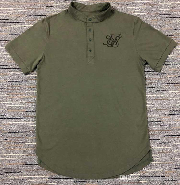 Men Tee T shirts Black White Green Curve Hem Stretch Latest Designer Plain Shirts For Cotton siksilk T shirt