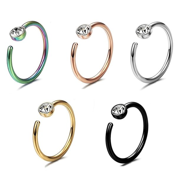 20PC Trendy Zircon Nostril Steel Nose Hoop Nose Rings Clip On Nose Helix Cartilage Ring Fake Piercing Body Jewelry For Women
