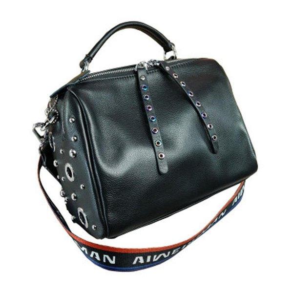 2019 новая мода из натуральной кожи тканая пропускная способность плеча сумка красочные заклепки корейской версии Бостона сумка