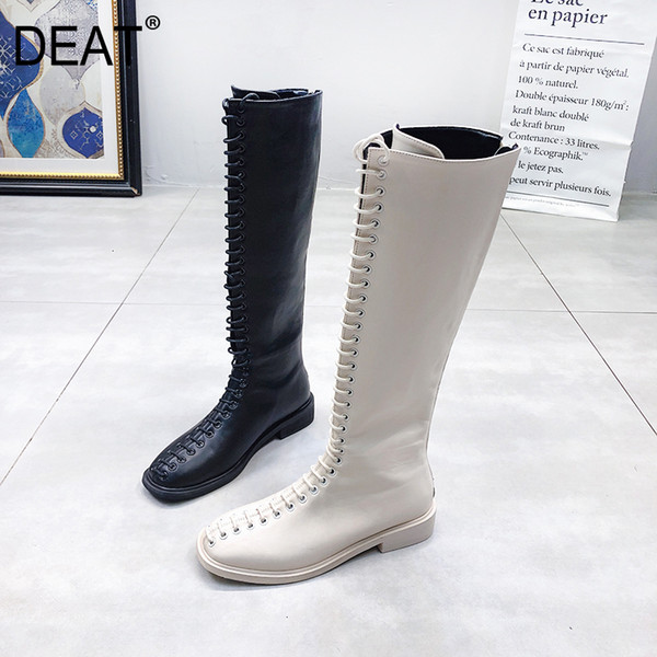 [DEAT] 2019 Square Toe Bandage Personality Pu Leather Single Shoes Women Long Boots New Spring Autumn Fashion Tide 10E327