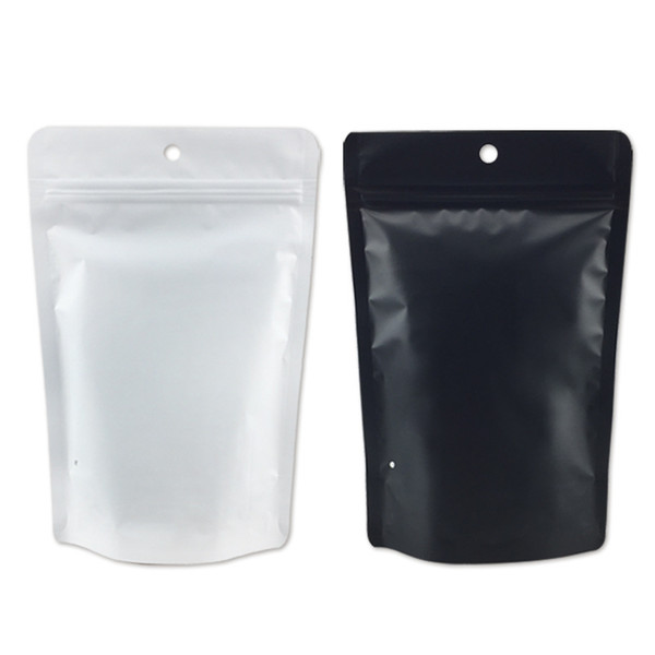 100pcs/lot matte underwear plastic package zipper lock standing bag retail sales blank white and black self seal bag with round hanger