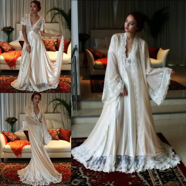 Sexy Brautkleider Kleid Set 2 für Frauen Stücke tiefem V-Ausschnitt Spitze getrimmt benutzerdefinierte Langarm Dessous Braut Nachtwäsche Nachthemd Bademäntel