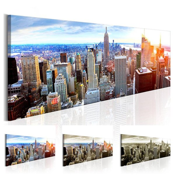NEW YORK Building Statue Design Canvas Print Wall Art Modern Home Decoration, Choose Color & Size( No Frame ) (Multicolor)