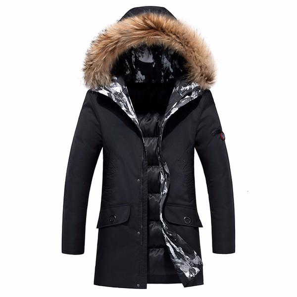 8XL Mann-Winter-Lang Business Casual Warm Thick-Pelz-Kragen-Jacke Parka Männer Neue Luxus-Outwear wasserdicht Parka-Mantel-Männer plus CJ191129