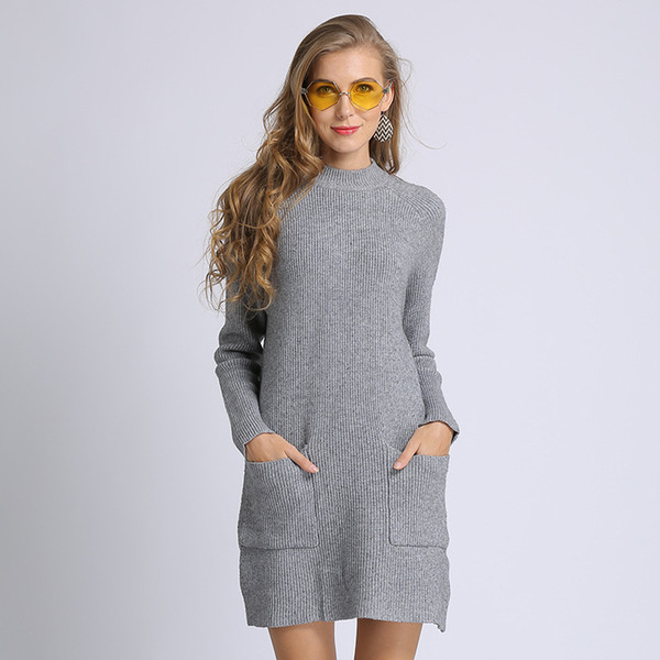 Ladies in Europe and the United States of new fund of 2018 autumn winters is pure color knit dress, backing turtleneck sweater dress ms long