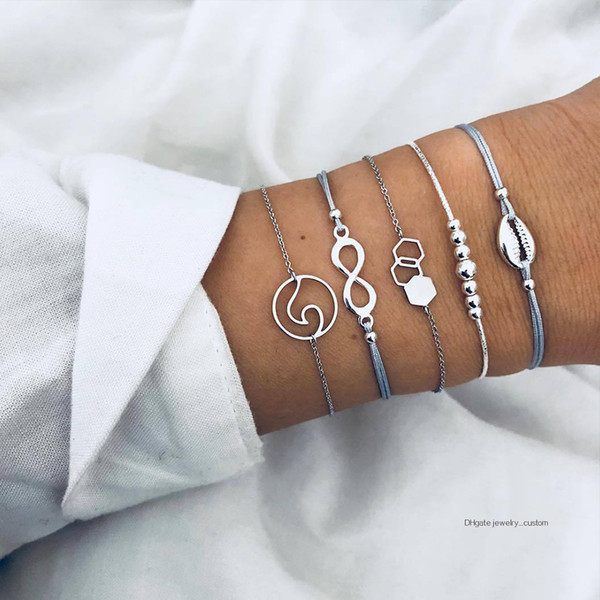 5 Pcs/set Bohemian Retro Shell Beaded Wave Pendant Leather Woven Silver Bracelet Set Women Fashion Clothing Jewelry Accessories