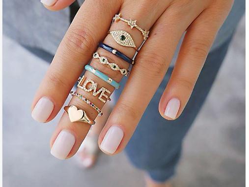 Nove design 8Pcs / Lot Boemia anello di barretta regolati per le donne di cristallo cuore di colore dell'oro amore Boho Punk partito Knuckle monili degli anelli