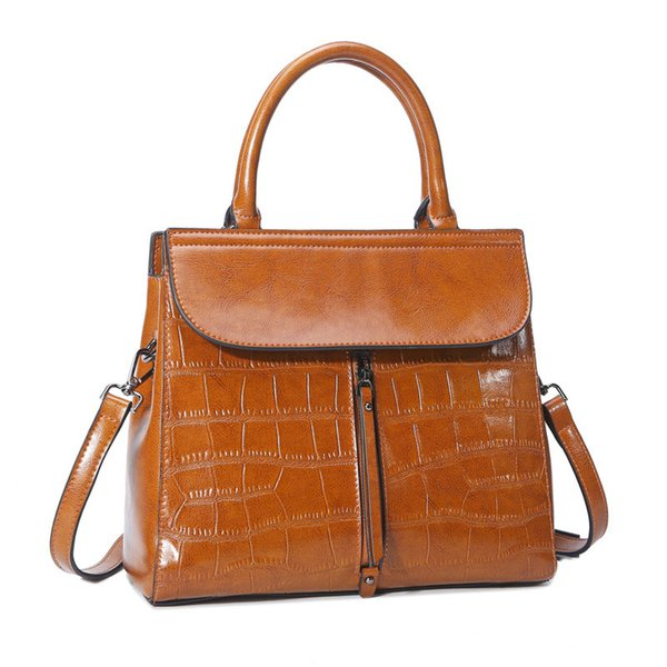 2019 new high quality leather handbags European and American style fashion ladies portable Messenger bag leather shoulder bag