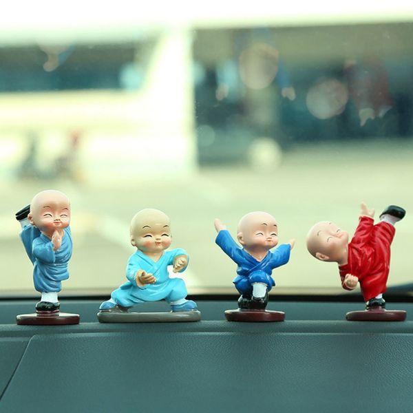 4pcs/set Small Cute Gift Little Monk Figurines Car Dolls Decoration Kungfu Monk Interior Display Decoration