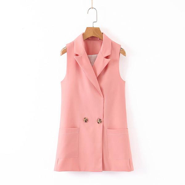 женщины сладкий розовый талии пальто двубортный воротник с надрезом жилет карманы женские элегантные милые пиджаки топы
