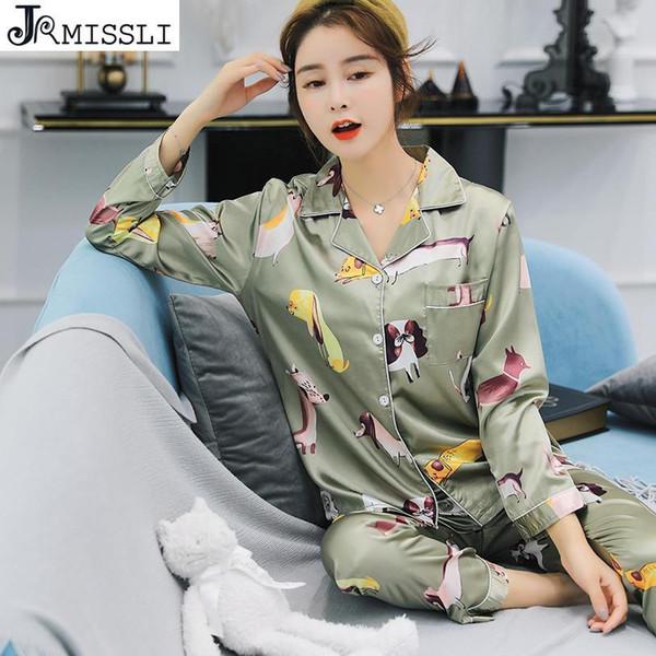 JRMISSLI Vintage Women Pajamas Sets Sleepwear Night Wear Silk Pajamas Ladies Short-sleeved Trousers Home Suit