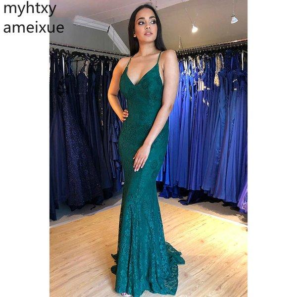 Sexy Abendkleid Dresse Mermaid Prom mit V-Ausschnitt Ärmellos Rückenfrei Bodenlang Neue Abendkleider Nach Maß Robe De Soiree