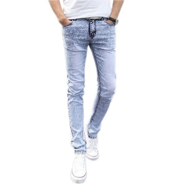 4f58ba06312 2019 New Jeans Men Fashion Skinny Denim Pencil Pants Slim Denim Jeans Homme  Trousers Male Snow Blue Pantalones Size 27-36