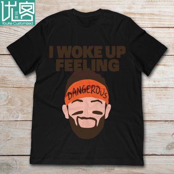 2019 marca Baker Mayfield eu acordei sentimento perigoso t-shirt dos homens