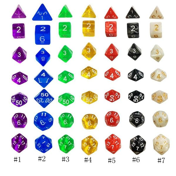 7pcs Set Resin Polyhedral TRPG Games For Dungeons Dragons Opaque D4-D20 Multi Sides Dice Pop for Game Gaming D0408