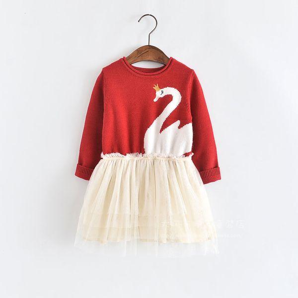 Ropa infantil 2019 primavera nuevo empalme neta niña caricatura tejer vestido suéter niñas