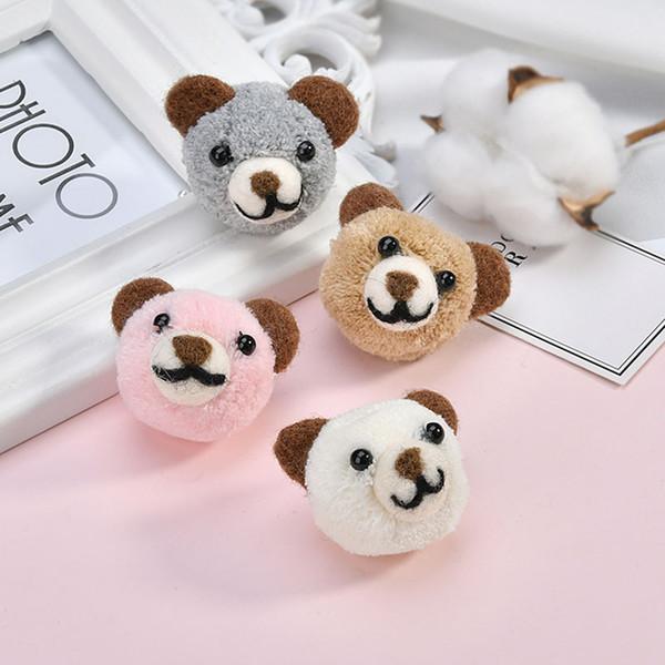 Free Shipping 8pcs/lot 51*40MM Handmade 3D Wool Fabric Felt Animal Bear Head Button Patch Stickers Girls Hair Jewelry Clips DIY