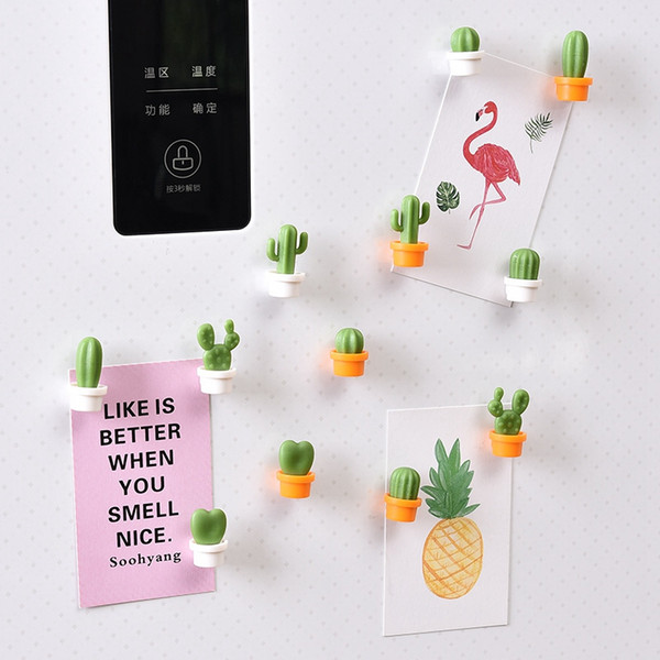 6pcs / set Cactus Réfrigérateur autocollant mignon Mini Succulent Magnets Plantez Réfrigérateur autocollant message Image Accueil Outils HHA946