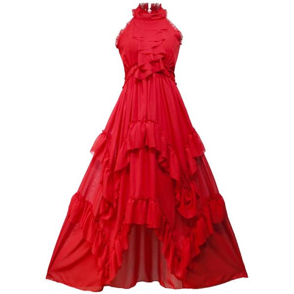 2019 Summer Fairy Long Women Dress Maxi Elegant Chiffon Vintage Ruffles Stand-neck Sleeveless Beach Dress Evening Party White
