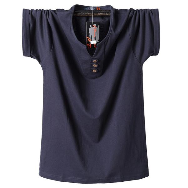2018 Летняя мужская футболка на пуговицах Slim Fit Модные хлопчатобумажные футболки с коротким рукавом Мужская футболка с v-образным вырезом Повседневная футболка Solid 6xl 7xl 8xl J190720