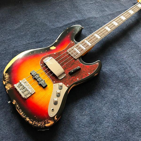 Spedizione gratuita! vendita all'ingrosso relic Jazz bass basswood body con 4 corde basso elettrico in colore sunburst, alta qualità 0625