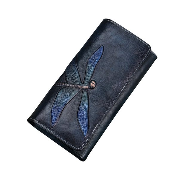 New Printing Dragonfly Women's Wallet Retro Money Card Holder Female Genuine Leather Long Purses Ladies Vintage Flower Wallets