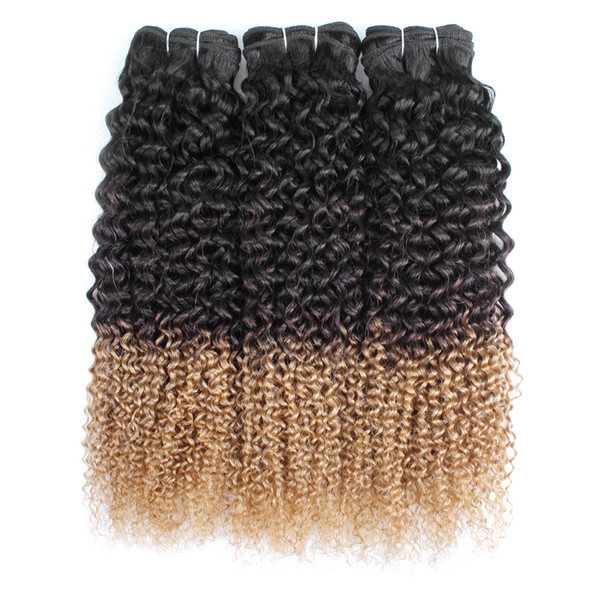 T1B/4/27 Jerry curly hair bundles remy Indian Brazilian Peruvian human hair extension 3 tone curly hair