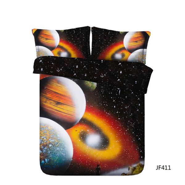 Orange bedding 3 Pieces Beddding Set With 2 Pillow Shams Sky 3D Galaxy Duvet Cover Set Comforter Cover Zipper Closure NO Filling