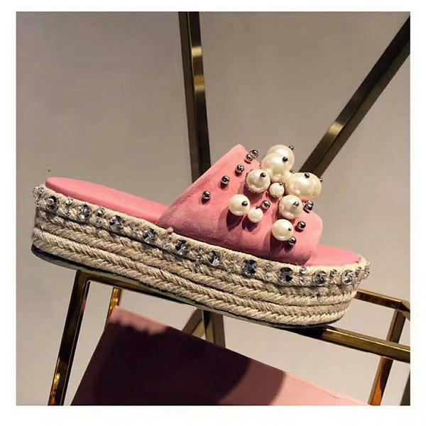 Abesire Mulher Moda Pérola Embelezada Slip-on Chinelos Feminino Peep Toe Apartamentos Slides Senhoras Saltos Grossos Verão Fora Sapatos