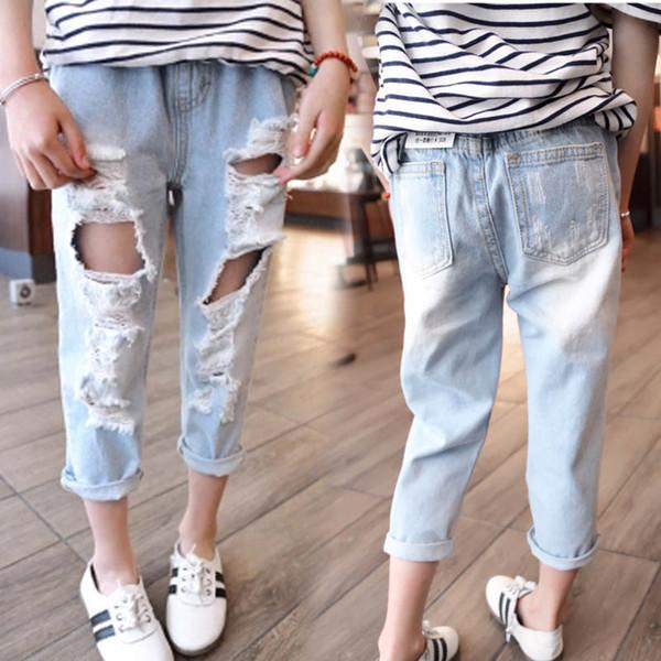 Hole ragazze Jeans per bambini Jeans bambini vestiti delle ragazze pantaloni skinny jeans vestiti dei capretti poco A8379 abbigliamento ragazze