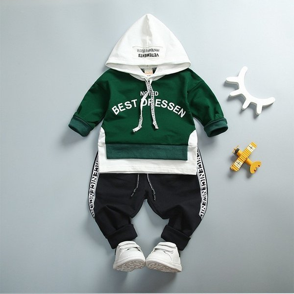 f2469e1e0 Spring Autumn Kids Cotton Clothes Sets Baby Girls Boys Sports Hooded T-Shirt  Pants 2pcs