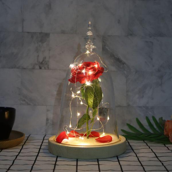 Artificial de Rose LED Rose Flores Valentine \ 's regalo del día LED de tabla de cadenas ligera decoración de la boda del regalo de cumpleaños Dropshipping