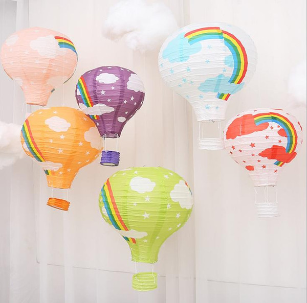 Rainbow Hot Air Balloon Decoration Background Ceiling Hanging Garland Lantern Baby Shower Kids Birthday Wedding Party Decor 30cm 40cm Colors Childrens
