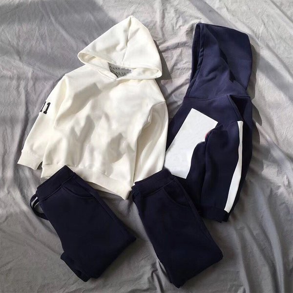Kid clothes Set white/navy tracksuit long sleeve hoodie+Pants 2 pcs for children winter spring casual clothes in stock