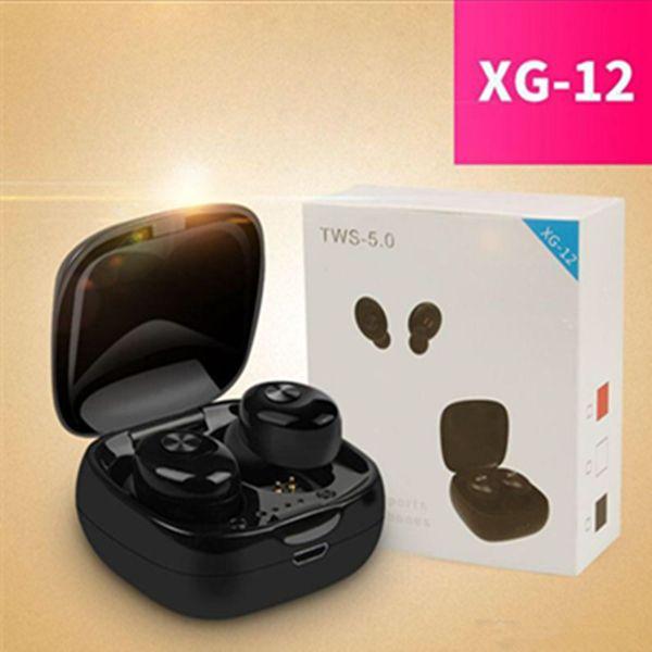 Xg12 handy kopfhörer mini tws bluetooth 5.0 kopfhörer wireless headsets sport ohrhörer dual pass 3d stereo kopfhörer mit mikrofon ladekasten