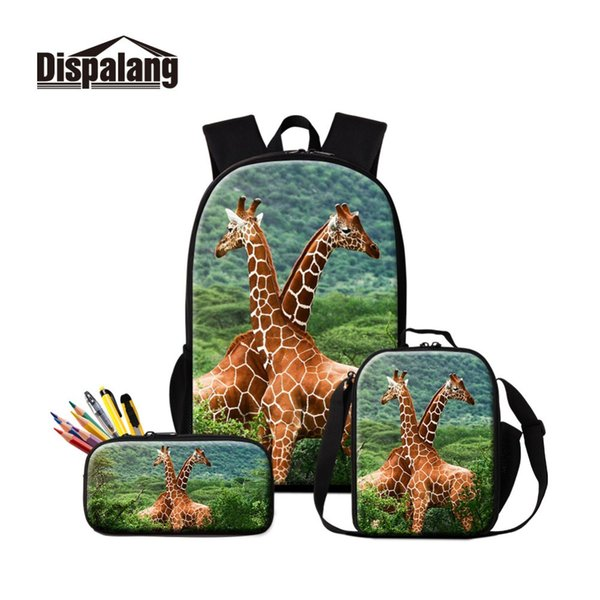 Brand New 3 PCS in 1 Set Fashion Canvas School Bags for Girls Pretty Insulated Cooler Case with Pen Box Design Giraffe Image Boy